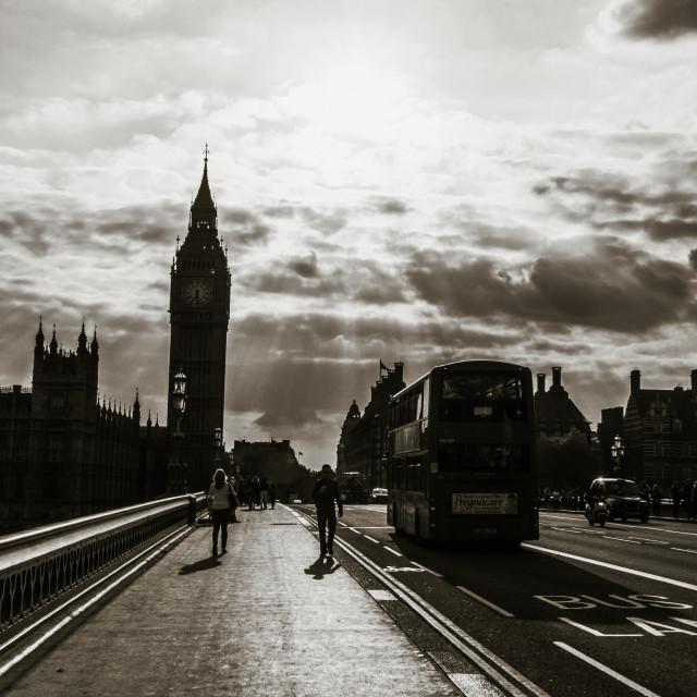 """Crossing the Westminster Bridge"" stock image"