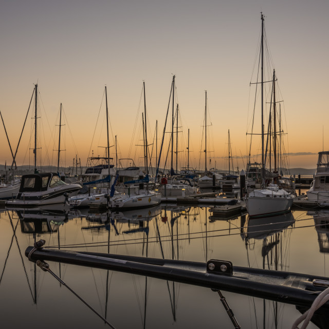 """Hobart Harbour Sunrise"" stock image"