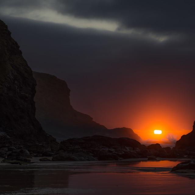 """""""Last Light on the Rocks"""" stock image"""