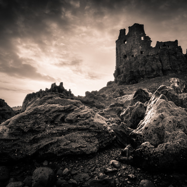 """Dunure Castle at Low Tide"" stock image"