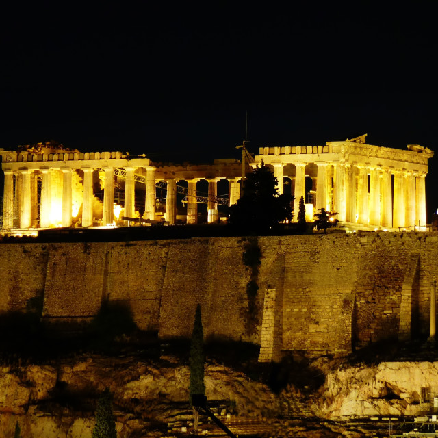 """Parthenon unusual view night pic"" stock image"