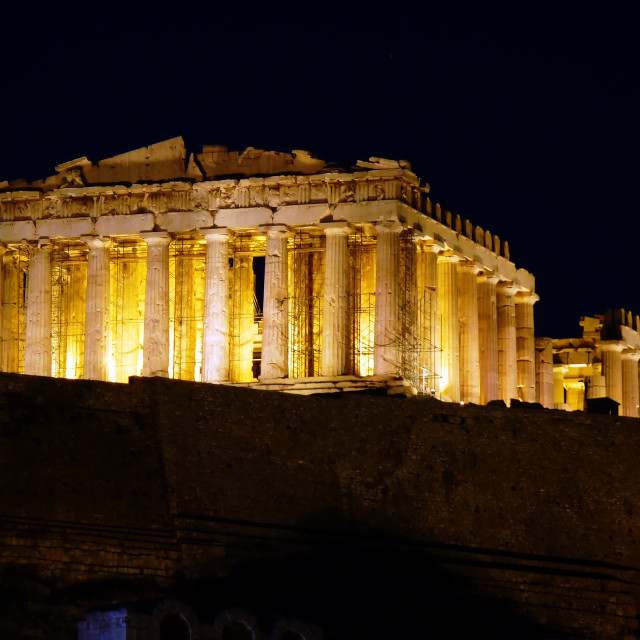 """Parthenon ancient temple night pic"" stock image"