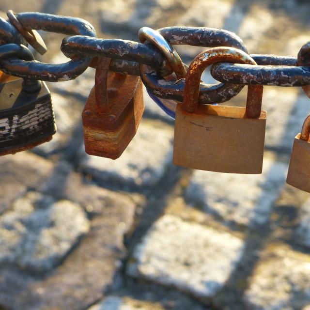 """Love padlocks I"" stock image"