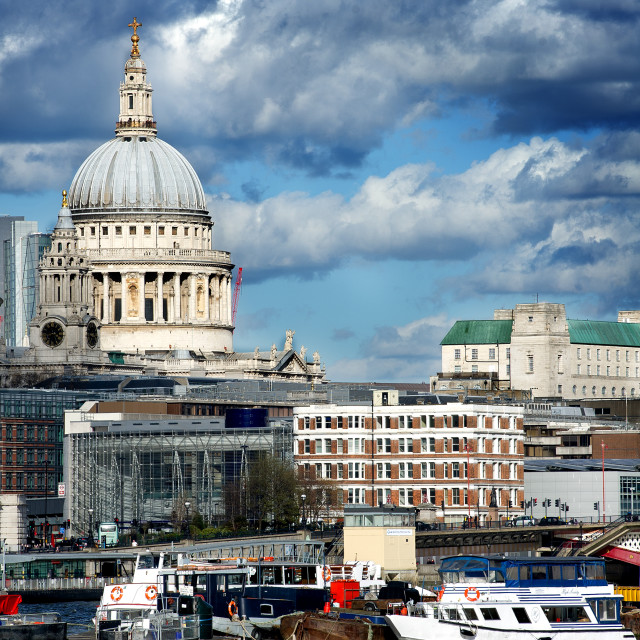 """St Pauls and the River Thames"" stock image"