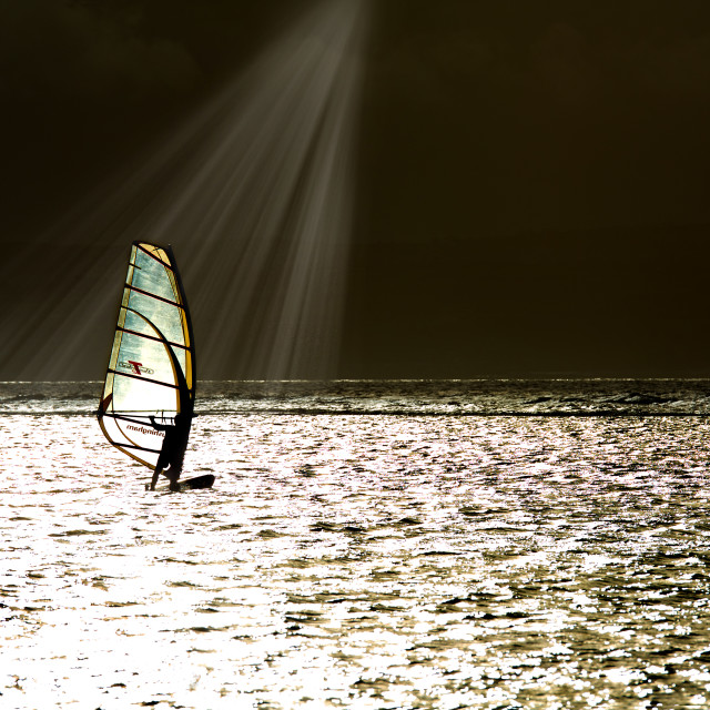 """Wind surfer and sunlight"" stock image"