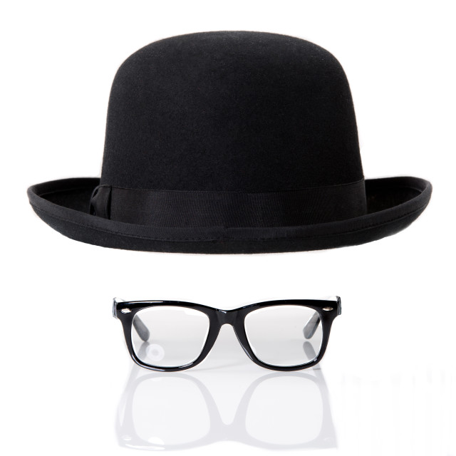"""Glasses and Bowler hat"" stock image"