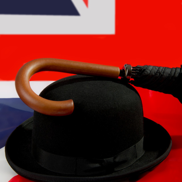"""Bowler hat, brolly and Union Jack"" stock image"