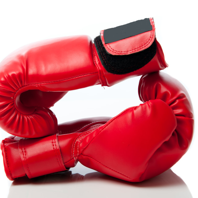 """Boxing gloves against white"" stock image"