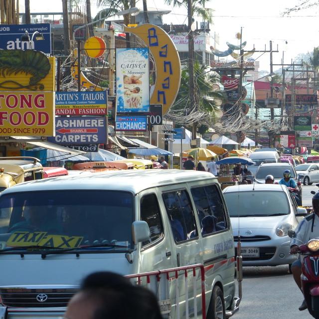"""Heavy traffic in Patong Beach, Phuket"" stock image"