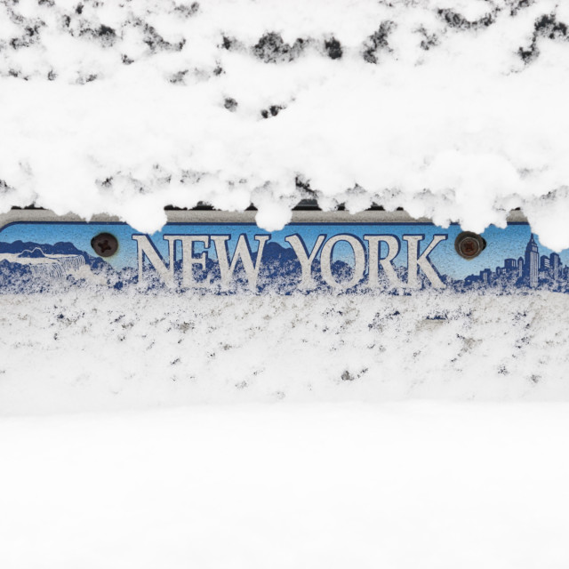 """""""Snow Over License Plate"""" stock image"""