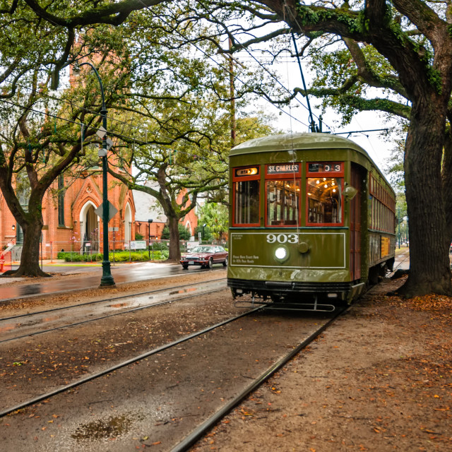 """St. Charles Ave. Streetcar New Orleans"" stock image"