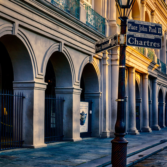 """Lamppost and Jackson Square Dawn"" stock image"