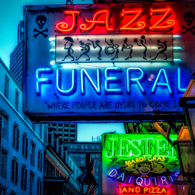 """Neon Signs Bourbon Street New Orleans, LA USA"" stock image"