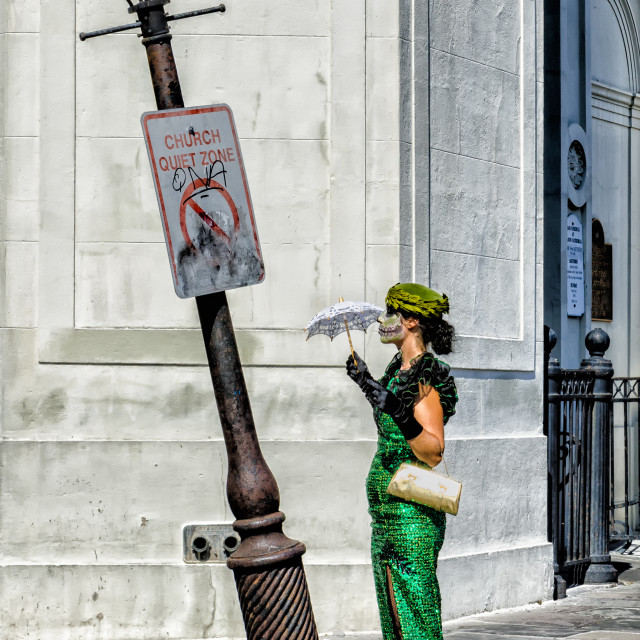"""Halloween Mime in Jackson Square, New Orleans, LA USA"" stock image"