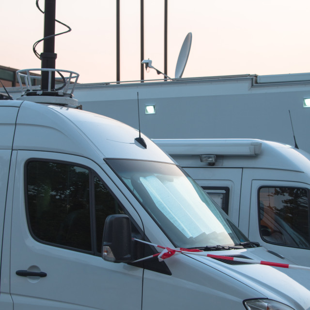 """Broadcast Trucks"" stock image"