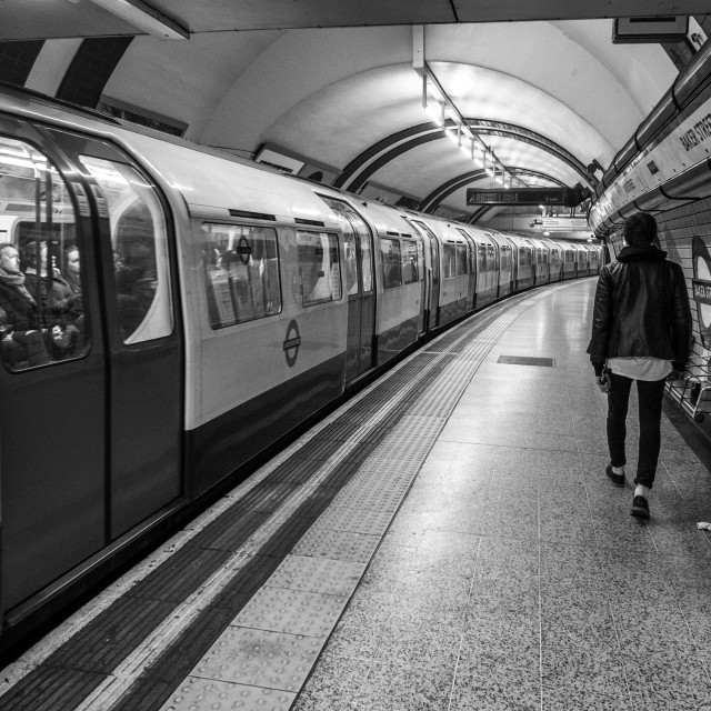 """A man on the tube platform"" stock image"