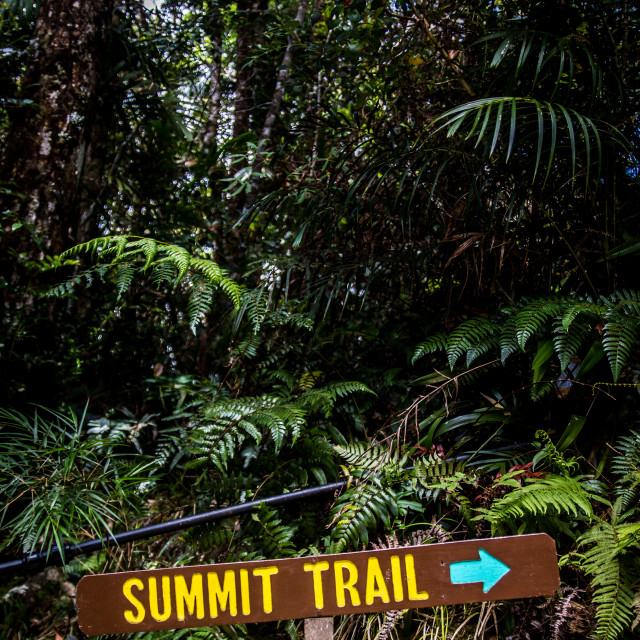 """Summit trail oudoor hiking sign"" stock image"