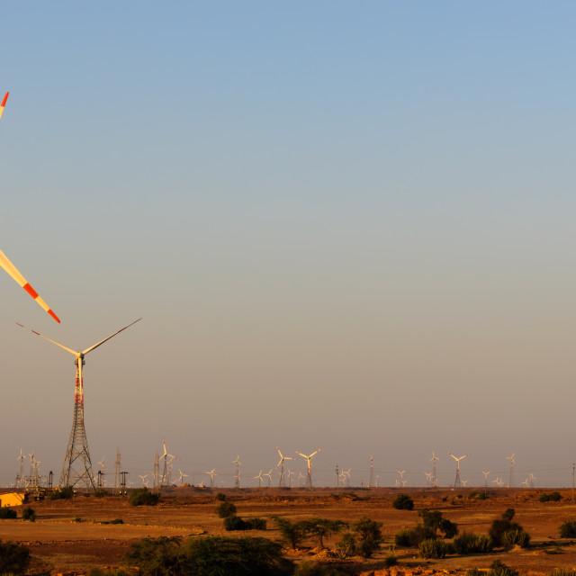 """""""Windmills in desert"""" stock image"""