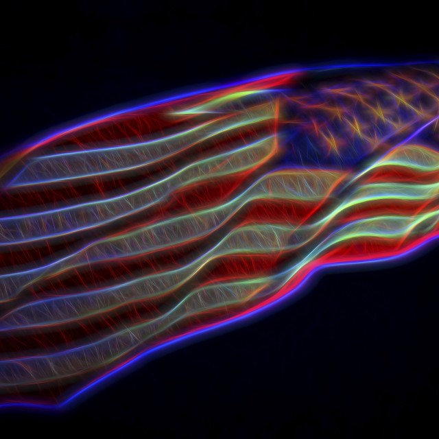 """""""The American Flag Glowing"""" stock image"""