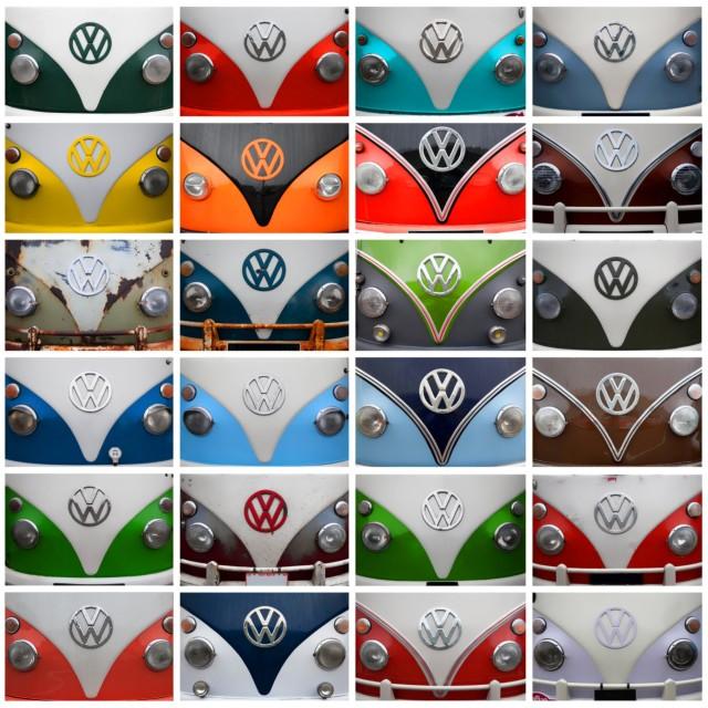 """VW Camper Van Collage"" stock image"