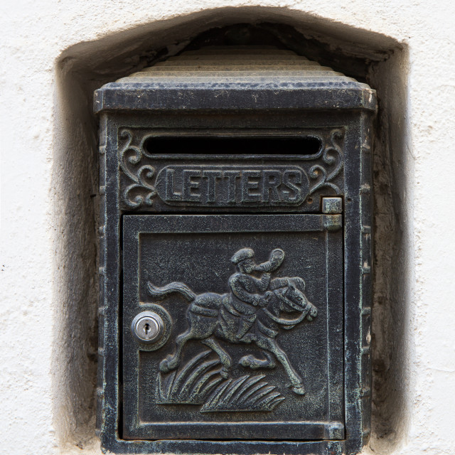 """Black Vintage Letterbox"" stock image"