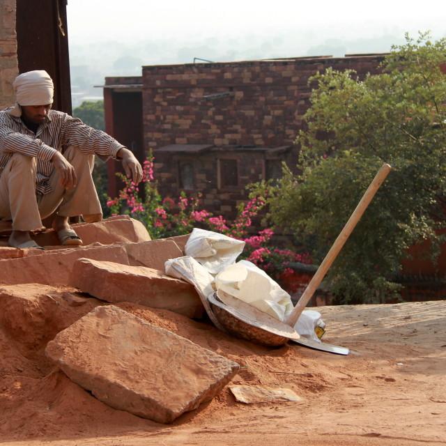 """""""A worker on a break"""" stock image"""