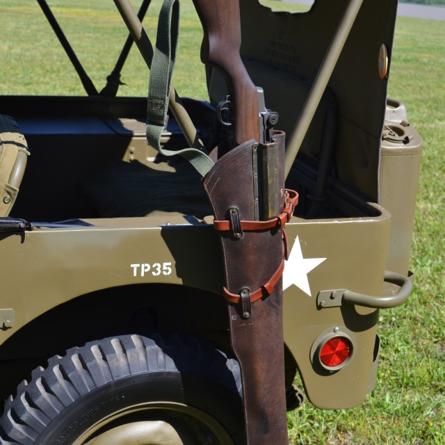 """""""M1 Garand Rifle and Willys MB Jeep"""" stock image"""