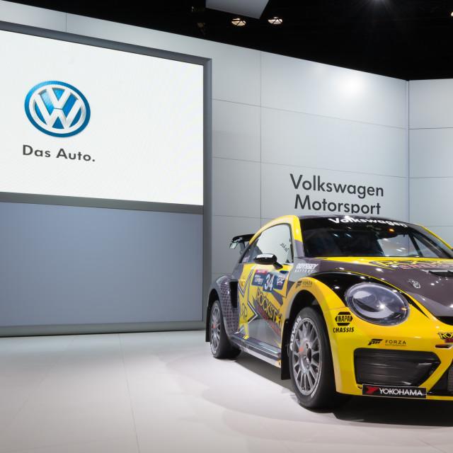 """""""Volkswagen Beetle #34 Rallycross"""" stock image"""