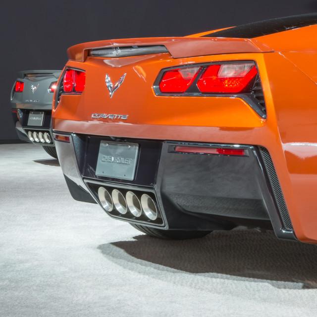 """Two 2015 Chevrolet Corvettes"" stock image"