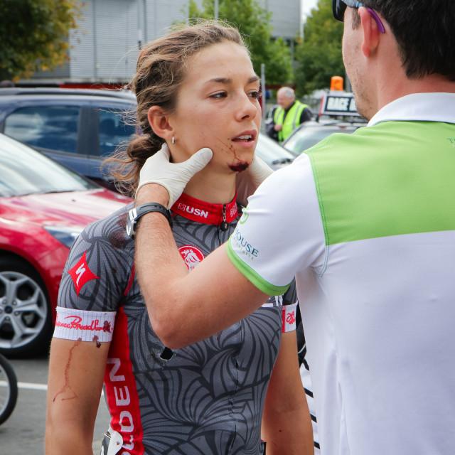 """cycle race injury"" stock image"