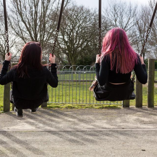 """Rear View of Two Teenage Girls Swinging on Swings"" stock image"
