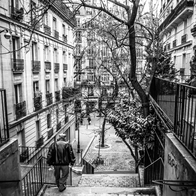 """Stairway Passages in Montmartre, Paris. B&W"" stock image"