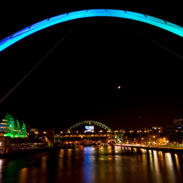 """Venus & Mars Conjunction over the Tyne Bridge"" stock image"