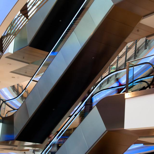 """People On Escalator In Modern Shopping Mall"" stock image"