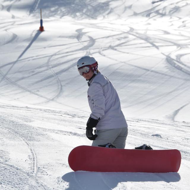 """Female snowboarder kneeling in powder snow"" stock image"