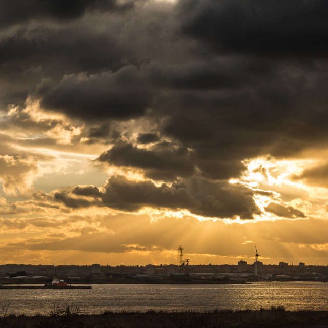 """Thames sunset - Rainham Marshes"" stock image"