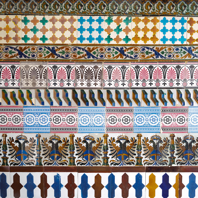 """""""Mosaic pattern at the Cartuja monastery, Seville, Spain. Charles Pickman factory"""" stock image"""
