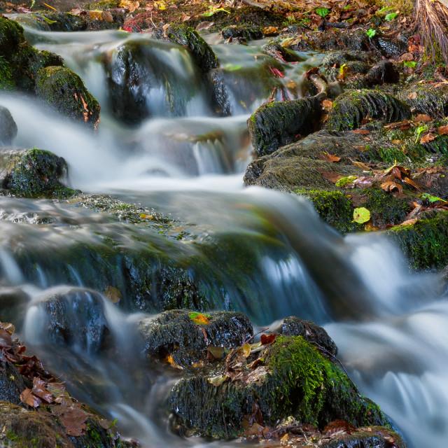 """""""Beautiful cascading waterfall"""" stock image"""
