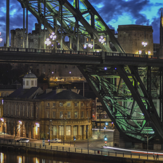 """Newcastle-Upon-Tyne quayside at night"" stock image"