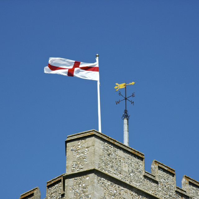 """St George's Flag on Church Tower"" stock image"