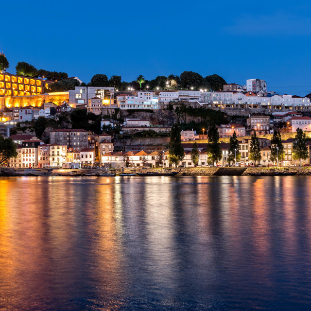 """The historic centre of Porto at night"" stock image"