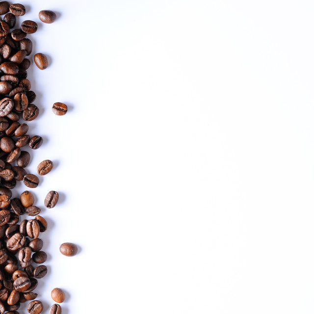 """""""Group of roasted coffee on the left"""" stock image"""