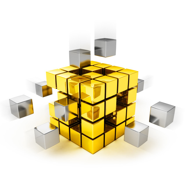 """Teamwork concept - metal cubes assembling into gold one"" stock image"