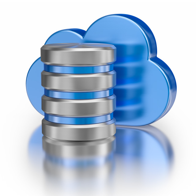 """""""Metal database icon and blue glossy cloud"""" stock image"""