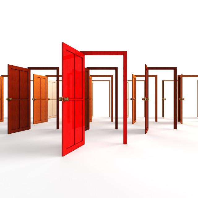 """""""Open doors - welcome, choice, opportunity concept"""" stock image"""