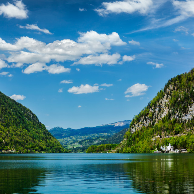 """Hallstatter See mountain lake in Austria"" stock image"