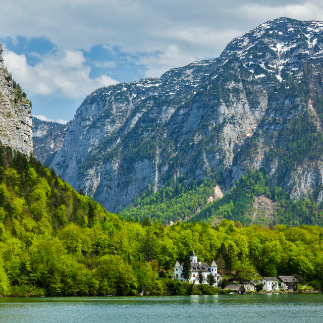 """""""Castle at Hallstatter See mountain lake in Austria"""" stock image"""