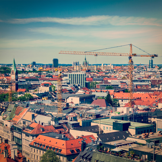 """""""Aerial view of Munich with construction site"""" stock image"""