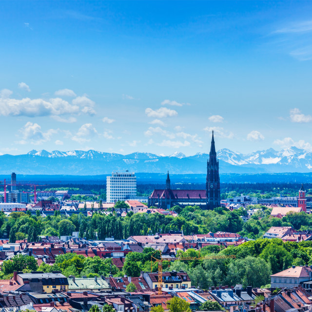 """""""Aerial view of Munich with Bavarian Alps in background"""" stock image"""