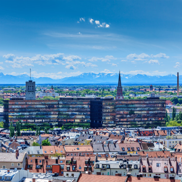 """""""Aerial view of Munich with Bavarian Alps in back"""" stock image"""